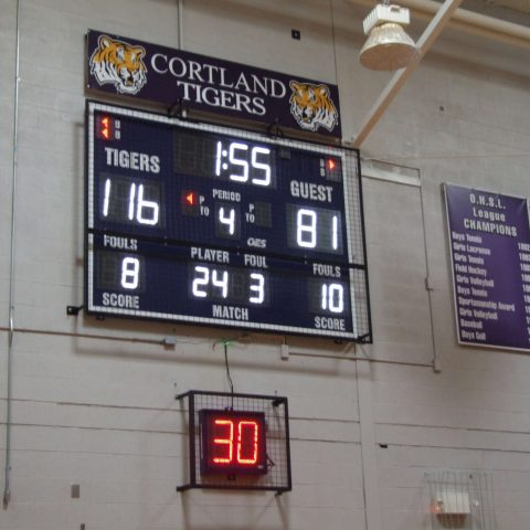 basketball shot clocks with red digits under a scoreboard