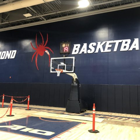 Basketball net at the end of the court