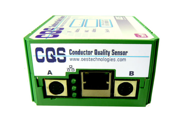 Green Conductor Quality Sensor on white background- side view